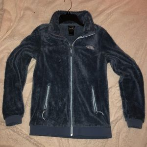 Blue fuzzy women's north face jacket